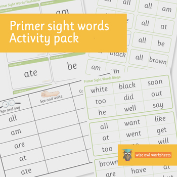 Primer Dolch Sight Words Activity Pack