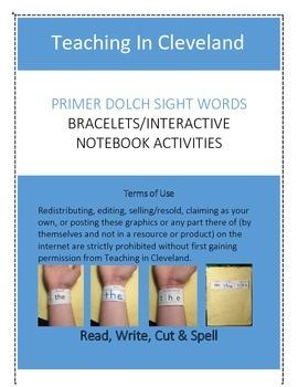 Primer Dolch Sight Words Bracelets Interactive Notebook
