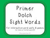 Primer Dolch Sight Words {Green} - for word walls and games