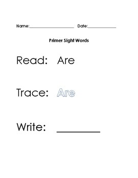 Primer Dolch Sight Words Read Trace Write (1 to a page)