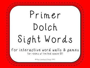 Primer Dolch Sight Words {Red} - for word walls and games
