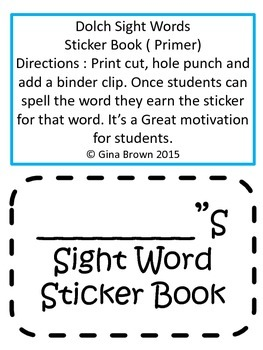 Primer Dolch Sight Words Sticker Book