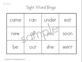 Primer Dolch Sight Words Supplemental Unit