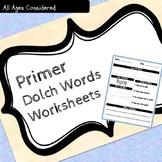 Primer Dolch Sight Words Practice Worksheets