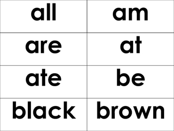 Primer Dolch Sight Words -52 Words- flash cards, word wall