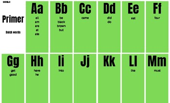 Primer Dolch Spelling Chart