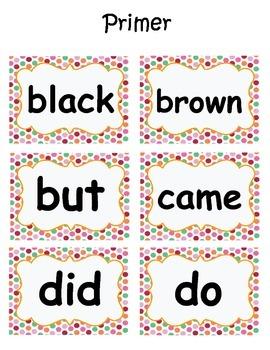Primer Dolch Word Card Set
