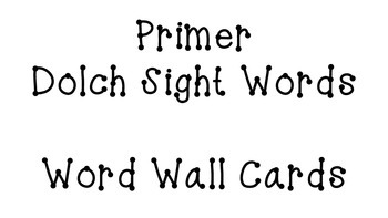Primer Dolch Word Cards