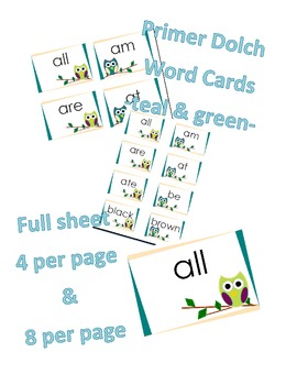 Primer Dolch Word Cards -Owls Teal & Green