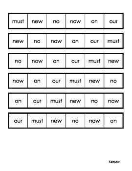 Primer Dolch Word Fluency Strips