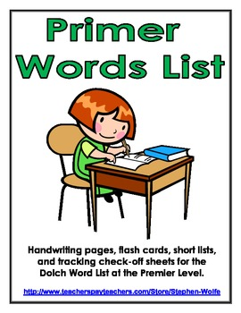 Primer Dolch Word List - Handwriting, Flash Cards, Tracking Form & Smaller Lists