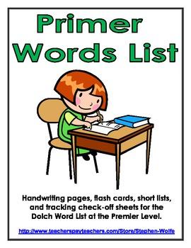 Primer Dolch Word List - Handwriting, Flash Cards, Trackin