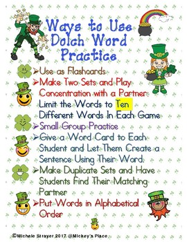 Primer Dolch Word Practice for March