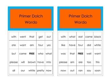 Primer Dolch Wordo game