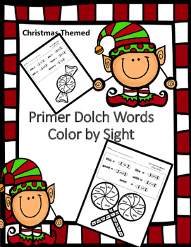 Primer Dolch Words - Color By Sight (Christmas Candy)