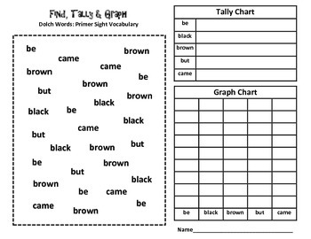 Primer Dolch Words Graphing Activity