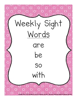 Primer Dolch Words Weekly Sight Word Activities