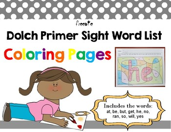 Primer Dolch words Freebie Coloring Pages