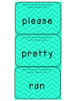 Primer Dolch words clothespin activity cards (49 cards)
