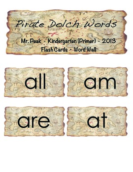 Primer (Kindergarten) Dolch Words Flashcards or Word Wall (Pirate Theme)