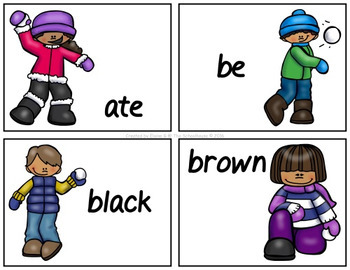 Primer / Kindergarten Sight Word Mat & Worksheets - Snowball Fight