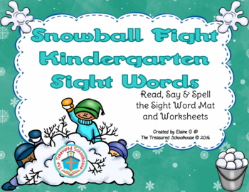 Winter Primer / Kindergarten Sight Word Mat & Worksheets - Snowball Fight