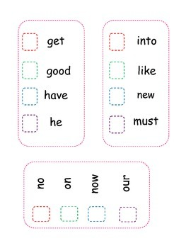 Primer (Kindergarten) Sight Words Sticker Chart
