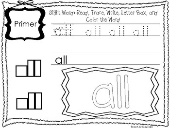 Primer Read, Trace, Write, Box Write, Color Worksheets. KDG Sight Words.