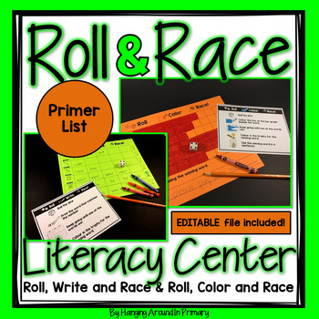 Primer Roll and Race Editable Sight Word Centers