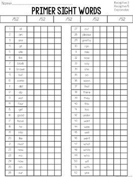 Primer Sight Word Assessment: Receptive & Expressive