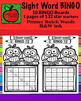 Primer Sight Word BINGO B&W ink (Daycare Support by Priscilla Beth)
