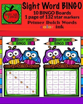 Primer Sight Word BINGO color ink (Daycare Support by Priscilla Beth)