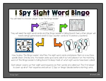 Primer Sight Word Bingo 1