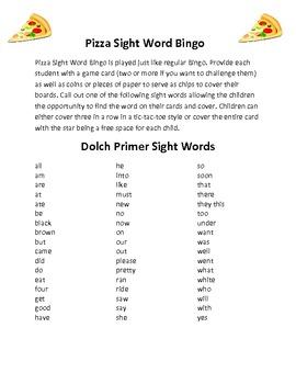 Primer Sight Word Bingo Cards