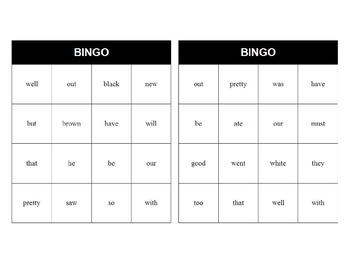 Primer Sight Word Bingo Class Set (28 Cards)