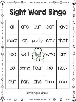 Primer Sight Word Bingo - Shamrock Theme