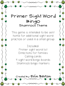 Primer Sight Word Bingo - Shamrock Theme