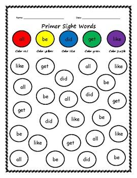Primer Sight Word Bubble Color