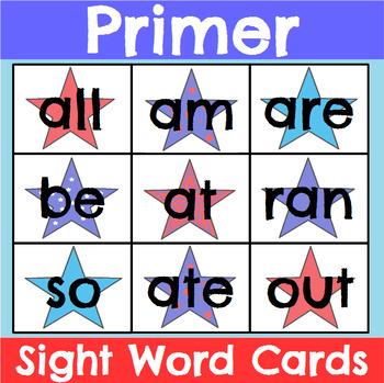 Primer Sight Word Cards Patriotic Theme