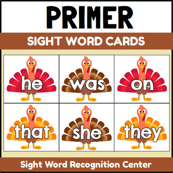 Primer Sight Word Cards Turkey Theme