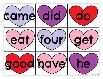 Primer Sight Word Cards Valentine's Day
