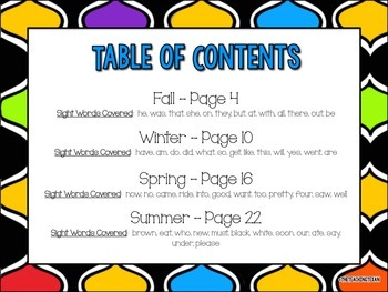 Primer Sight Word Coloring Pages Packet Kindergarten - 4 Seasons Bundle