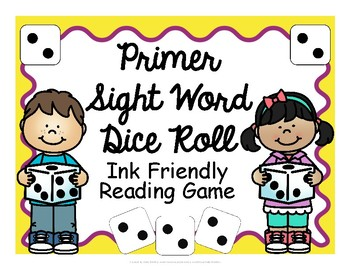 Primer Sight Word Dice Roll - Ink Friendly Reading Game