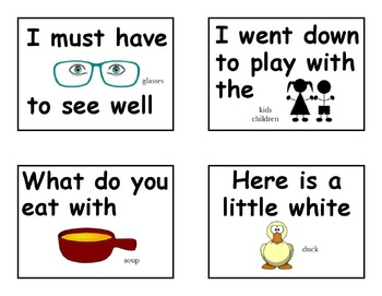 Dolch Sight Word Rebus Flash Cards First Sight Words Primer 1st 2nd Homeschool