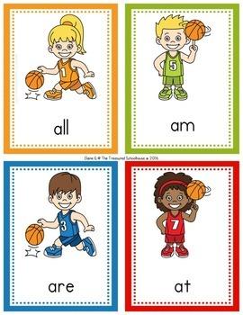 Primer Sight Word Flashcards - Basketball