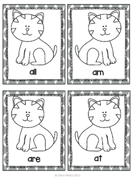 Primer Sight Word Flashcards {Cat Theme}