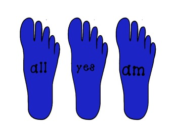 Primer Sight Word Foot Print Center Activity