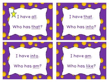 Primer Sight Word Game (I have ... who has?)