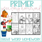 Primer Sight Word Homework for the Year