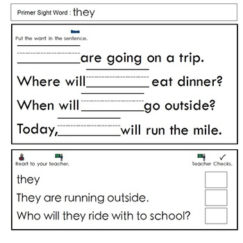 Primer Sight Word Interactive Notebook Files